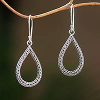 Sterling silver dangle earrings, 'Naga Tears' - Drop-Shaped Sterling Silver Naga Chain Dangle Earrings