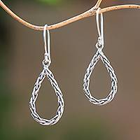 Sterling silver dangle earrings, 'Fox Tears' - Drop-Shaped Sterling Silver Foxtail Chain Dangle Earrings