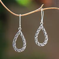 Sterling silver dangle earrings, 'Sanca Tears' - Drop-Shaped Sterling Silver Chain Dangle Earrings from Bali