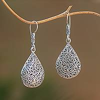 Sterling silver dangle earrings, 'Droplet Swirls' - Swirl Motif Sterling Silver Dangle Earrings from Bali