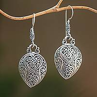 Sterling silver dangle earrings, 'Bali Tides' - Swirl Motif Sterling Silver Dangle Earrings Crafted in Bali