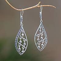 Sterling silver dangle earrings, 'Indonesian Dew' - Dangling Sterling Silver Earrings from Bali