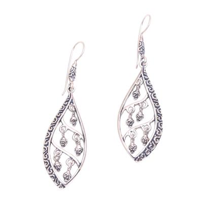 Sterling silver dangle earrings, 'Indonesian Dew' - Dangling Sterling Silver Earrings from Bali