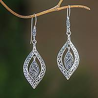 Sterling silver dangle earrings, 'Baby Leaves' - Artisan Crafted Sterling Silver Dangle Earrings from Bali