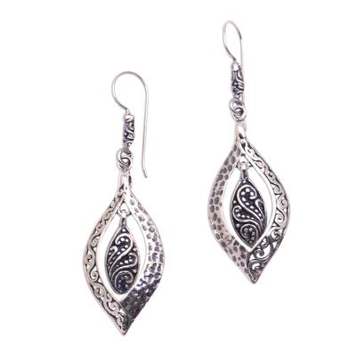 Sterling silver dangle earrings, 'Baby Leaves' - Artisan Crafted Sterling Silver Dangle Earrings from Bali