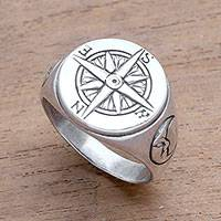 Men's sterling silver signet ring, 'Light the Way' - Men's Sterling Silver Compass Signet Ring from Bali