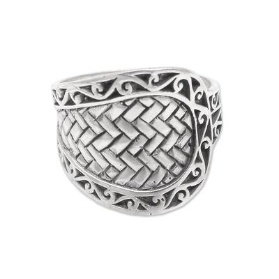 Men's sterling silver band ring, 'Celuk Cobra' - Men's Weave Motif Sterling Silver Band Ring from Bali