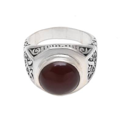 Men's carnelian ring, 'Warrior's Passion' - Men's Carnelian Ring Crafted in Bali