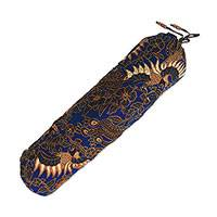 Batik cotton yoga bag, 'Sawunggaling Bird in Lapis'