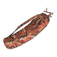 Batik cotton yoga bag, 'Sawunggaling Bird in Spice' - Bird Motif Batik Cotton Yoga Bag in Spice from Bali