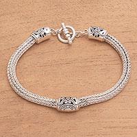 Sterling silver pendant bracelet, 'Three Siblings' - Artisan Crafted Sterling Silver Pendant Bracelet from Bali