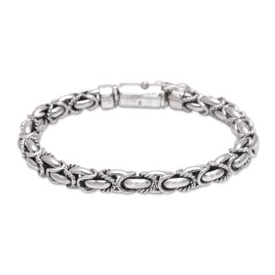 Sterling silver chain bracelet, 'Valiant Spirit' - Handmade Sterling Silver Chain Bracelet from Bali