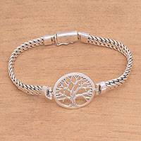 Sterling silver pendant bracelet, 'Tree of Prosperity' - Tree-Themed Sterling Silver Pendant Bracelet from Bali