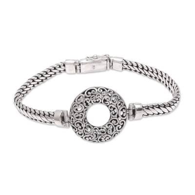 Circular Sterling Silver Pendant Bracelet from Bali