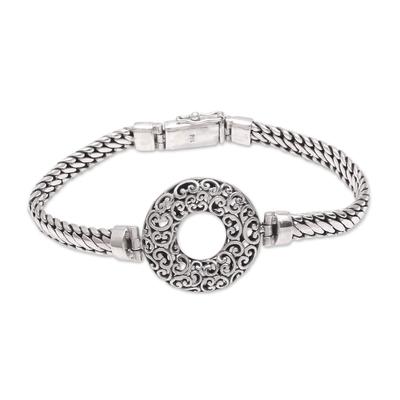 Sterling silver pendant bracelet, 'Secret Gate' - Circular Sterling Silver Pendant Bracelet from Bali