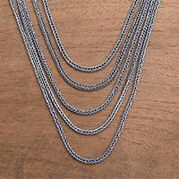 Sterling silver chain necklace, 'Naga Lair'
