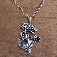 Onyx pendant necklace, 'Basuki' - 925 Sterling Silver and Onyx Dragon Pendant Necklace