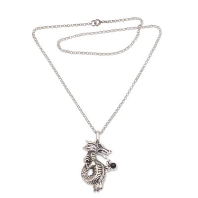 925 Sterling Silver and Onyx Dragon Pendant Necklace