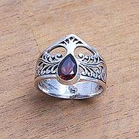 Garnet band ring, 'Enchanting Tree' - Tree-Themed Garnet Band Ring from India