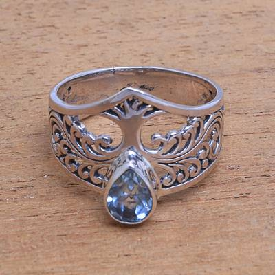 Blue topaz cocktail ring, Tree Sparkle
