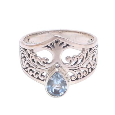 Tree-Themed Blue Topaz Cocktail Ring from Bali