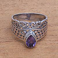 Amethyst cocktail ring, 'Temple Stones' - Circle Motif Amethyst Cocktail Ring from Bali