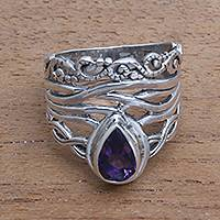 Amethyst cocktail ring, 'Gianyar Sunset' - Openwork Amethyst Cocktail Ring Crafted in Bali