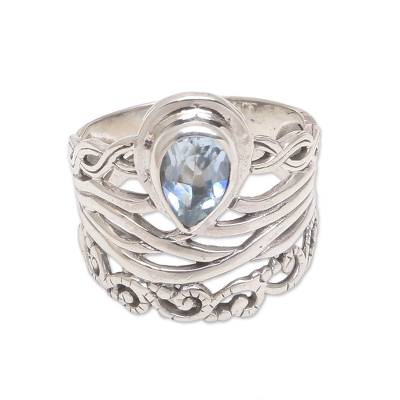 925 Sterling Silver Blue Topaz Cocktail Ring from Bali