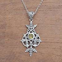 Peridot pendant necklace, 'Wheat Beauty' - Wheat Motif Peridot Pendant Necklace from Bali