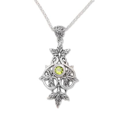 Peridot pendant necklace, 'Wheat Beauty' - Wheat Motif Peridot Pendant Necklace from Bali