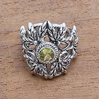 Peridot cocktail ring, 'Wheat Beauty' - Wheat Motif Peridot Cocktail Ring from Bali