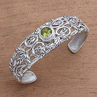 Peridot cuff bracelet, 'Wheat Beauty' - Wheat Motif Peridot Cuff Bracelet from Bali