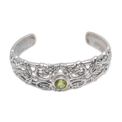 Peridot cuff bracelet, 'Wheat Beauty' - Wheat Motif Peridot Cuff Bracelet from Bali