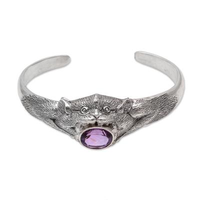 4.5-Carat Amethyst Monkey Cuff Bracelet from Bali