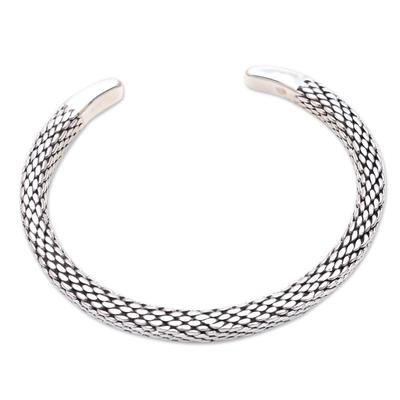 Sterling silver cuff bracelet, 'Cobra's Skin' - Link Motif Sterling Silver Cuff Bracelet Crafted in Bali