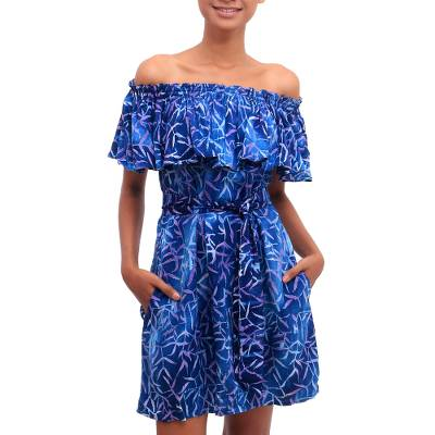 Batik rayon off-shoulder dress, 'Bamboo Batik' - Blue and Purple Bamboo Motif Batik Rayon Short-Sleeve Dress