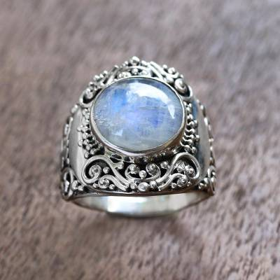Rainbow moonstone cocktail ring, 'Nighttime Garden' - Rainbow Moonstone Cocktail Ring from Bali