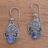 Rainbow moonstone dangle earrings, 'Shield of the Gods'