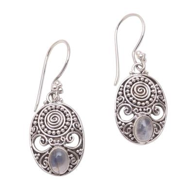 Rainbow moonstone dangle earrings, 'Shield of the Gods' - Handcrafted Rainbow Moonstone Dangle Earrings from Bali