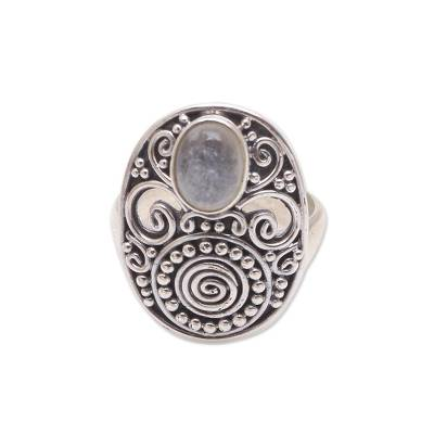 Oval Rainbow Moonstone Cocktail Ring from Bali
