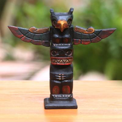 Wood statuette, 'Garuda Totem' - Hand-Carved Wood Totem Statuette from Bali