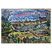 'Landscape Near Gunung Lebah Temple' - Signed Impressionist Landscape Painting from Bali