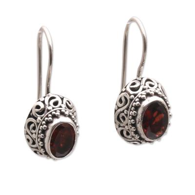 Faceted Oval Garnet Drop Earrings from Bali