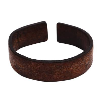 Handmade Leather Cuff Bracelet with Star Engraving from Bali