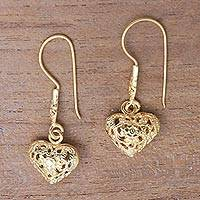 Gold plated sterling silver dangle earrings, 'Love Flowers' - Floral 18k Gold Plated Sterling Silver Heart Dangle Earrings