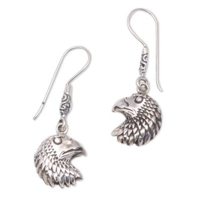 Sterling Silver Eagle Dangle Earrings Crafted in Bali