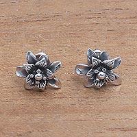 Sterling silver stud earrings, 'Dreamy Lotus'