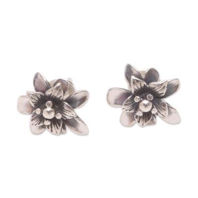 Sterling Silver Lotus Flower Stud Earrings from Bali