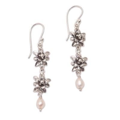 Cultured pearl dangle earrings, 'Lotus Garland' - Lotus Flower Cultured Pearl Dangle Earrings from Bali