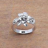 Sterling silver cocktail ring, 'Dreamy Lotus' - Sterling Silver Lotus Flower Cocktail Ring from Bali